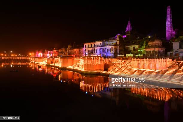On the occasion of Chhoti Diwali 17 lakhs earthen Diyas illuminated at majestic ghats of Ayodhya Ram ki Paisi as part of Diwali celebration on...