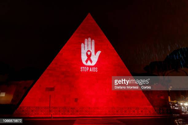 On the occasion of the 30th World AIDS Day the Cestia Pyramid in Rome was coloured red the symbol of the fight against AIDSon November 30 2018 in...