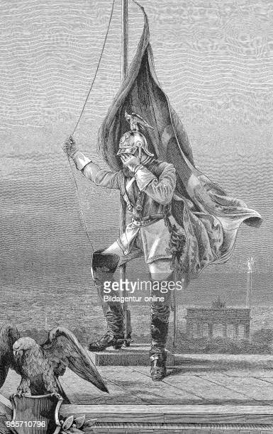 On the occasion of the death of William I March 9 the flag is drawn by a mourning soldier on a halfmast on the morning of March 9 on the platform of...