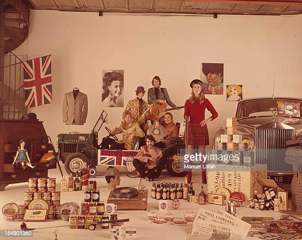 On the occasion of the devaluation of sterling products symbolizing England are staged in a studio the Union Jack the flag of the United Kingdom a...