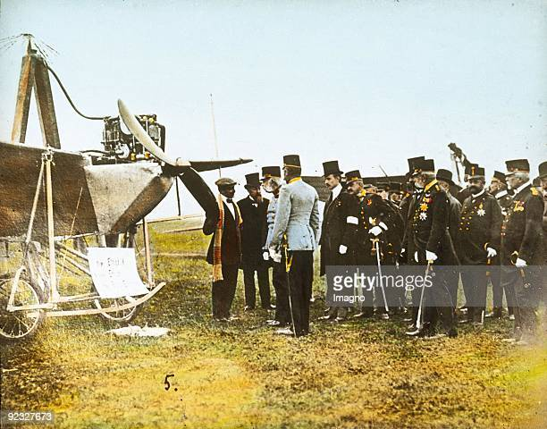 On the occasion of the flight day the emperior Franz Joseph I. From Austria on the airfield in Wiener Neustadt. Lower Austria. Hand-colored lantern...