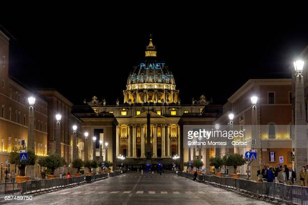On the occasion of the meeting between Pope Francis and US President Donald Trump Greenpeace projected the message Planet Earth First on the St...