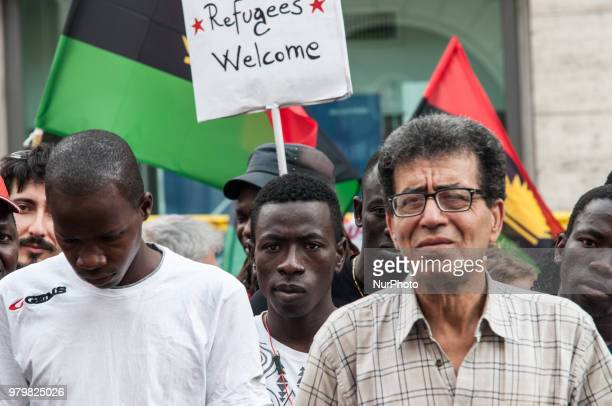 On the occasion of World Refugee Day antiracist associations migrants and refugees protest in front of the Prefecture to ask for rights and welcome...