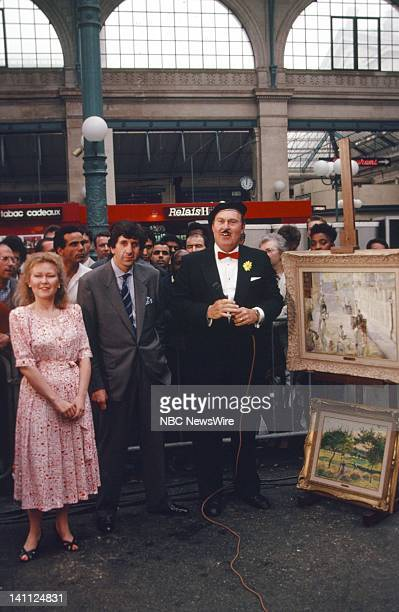 TODAY TODAY on the Orient Express 1988 Pictured Artist Danielle Van Santen gallery owner Daniel Delamare NBC News' Willard Scott at the Gare du Nord...