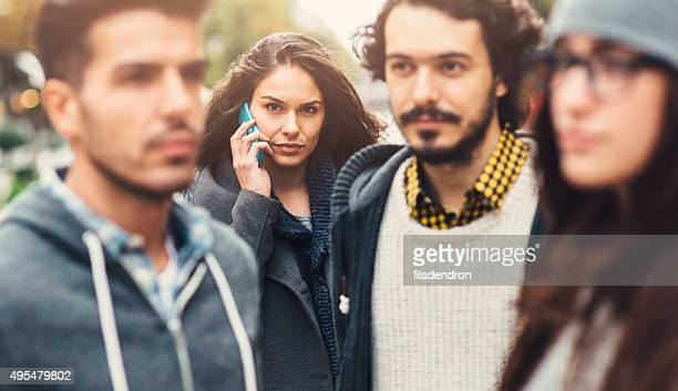 On The Phone In A Crowd