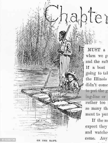 On the Raft Book Illustration from Mark Twain's The Adventures of Huckleberry Finn