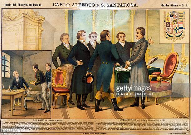On the right, Carlo Alberto swearing in the Constitution, March 14, 1821; left, Santorre of Santarosa in prison in Paris in 1922 received a gift of a...