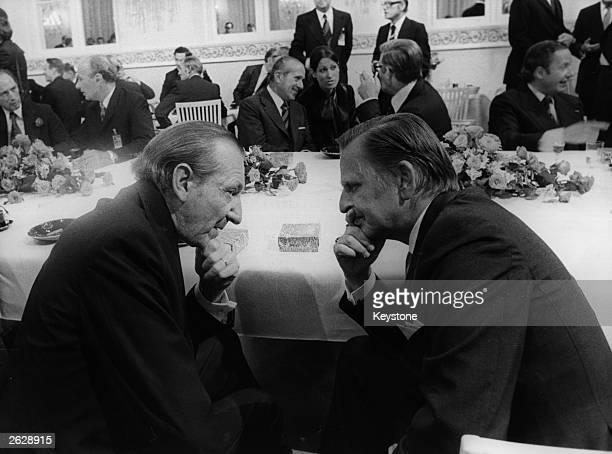 On the right Swedish Prime Minister Olof Palme converses with Kurt Waldheim Secretary General of the United Nations This was just one of the...