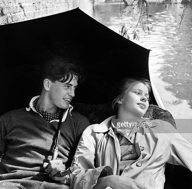 On the river Cam in Cambridge resting in a punt are James Innes of St Catherine's college where he reads modern languages and Irene Cassel from...