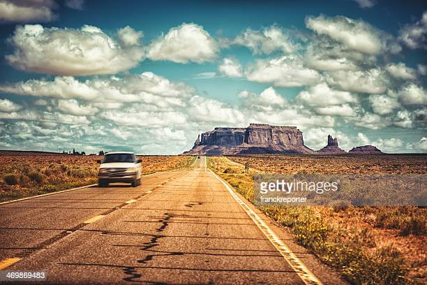 On the road in Monument valley National park desert