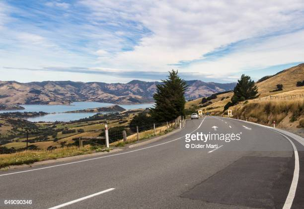 On the road in the Banks Peninsula in New Zealand