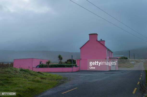 On the road to conor pass, Dingle Bay, pink pub