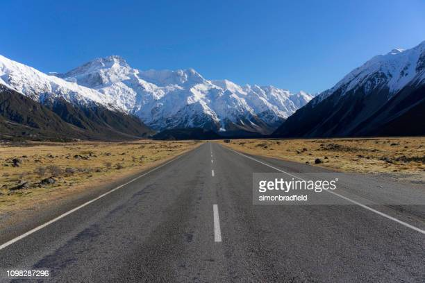 on the road to mt cook, new zealand - physical geography stock pictures, royalty-free photos & images