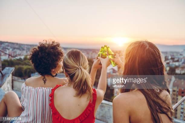 auf dem dach - terrassenfeld stock-fotos und bilder