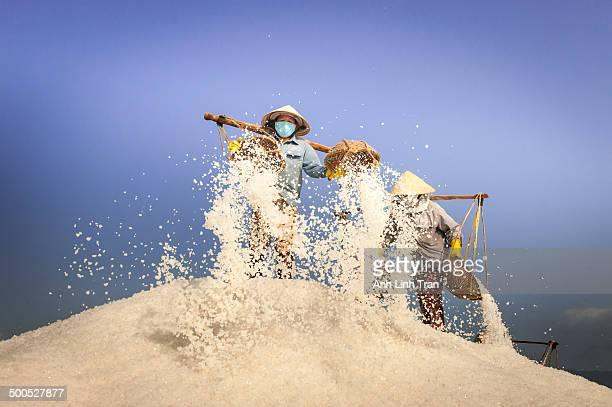 On the salt field of Hon Khoi, Khanh Hoa, the largest salt manufacturing area in Vietnam