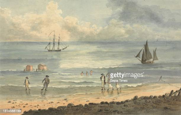On the Sands at Brighton: Figures Walking on the Shore, John Nixon, ca. 1760–1818, British, undated, Watercolor and graphite on medium, slightly...