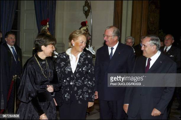 On the second day of Belgium royal couple state visit to France, Belgium's King Albert II and Queen Paola with French Prime minister Jean-Pierre...