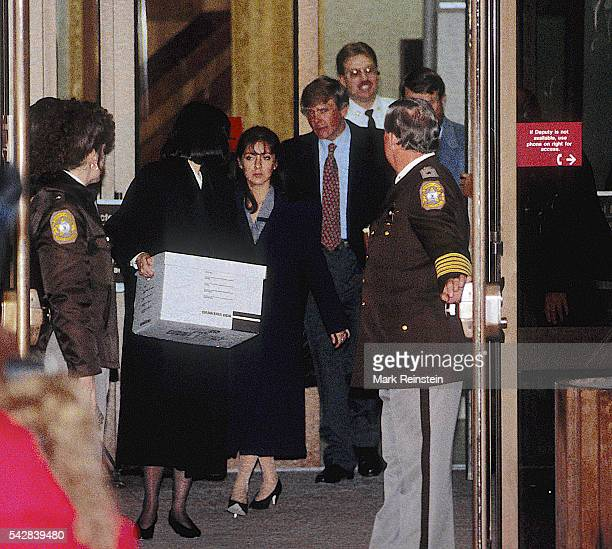 On the second day of her trial the accused Lorena Bobbitt and her lawyers Lisa Kemler Blair Howard and James Lowe leave the Prince William County...