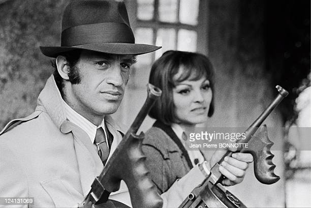 On the set of Borsalino by Jacques Deray In Marseille France In 1970 JeanPaul Belmondo Catherine Rouvel