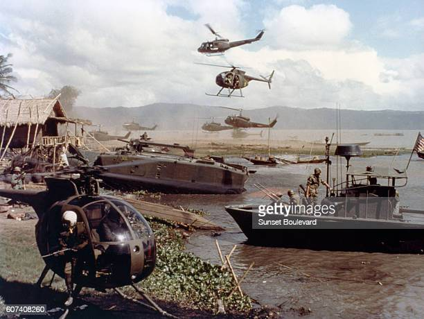 On the set of the film Apocalypse Now directed by Francis Ford Coppola and based on Joseph Conrad's novel Heart of Darkness