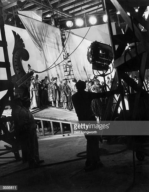 On the set of the film of Shakespeare's play 'A Midsummer Night's Dream' directed by Max Reinhardt and produced by Warner Brothers