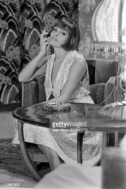 On the Set of the Movie Borsalino in Marseille France in September 1969French actress Catherine Rouvel on the set of gangster movie 'Borsalino'...