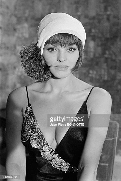 On the Set of the Movie Borsalino in Marseille France in September 1969 French actress Catherine Rouvel on the set of gangster movie 'Borsalino'...