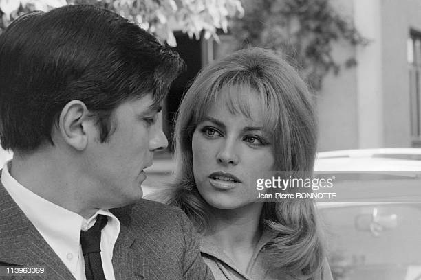 On the set of the movie Cop Out in Paris France in June 1967French actress Nathalie Delon with her husband and male counterpart Alain Delon on the...