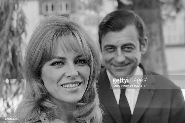 On the set of the movie Cop Out in Paris France in June 1967French actress Nathalie Delon with male counterpart Francois Perier on the set of crime...
