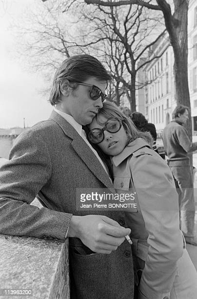 On the set of the movie La Lecon Particuliere in Paris France in May 1968Alain Delon encourages his actress wife Nathalie during the shooting of 'La...