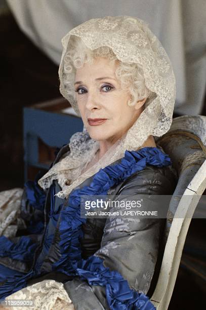 On the Set of the Movie Les Fausses Confidences in Paris France on April 19 1984French actress Micheline Presle on the set of the movie 'Les Fausses...