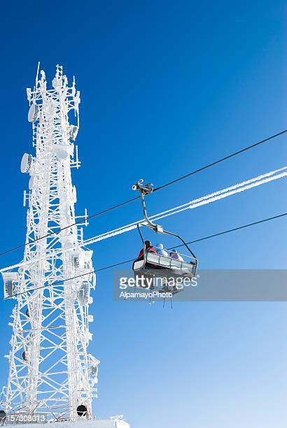 on the ski lift (chairlift) - i - mont tremblant stock pictures, royalty-free photos & images