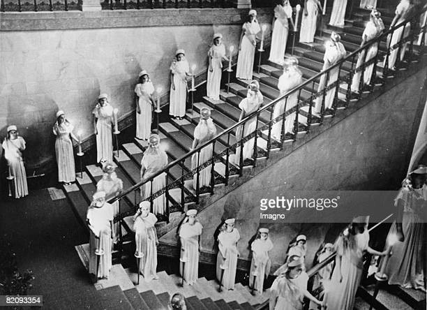 On the socalled Day of the German Art in Munich the stairway of the Maximilaneum was decorated with young women representing white Virgins as symbols...
