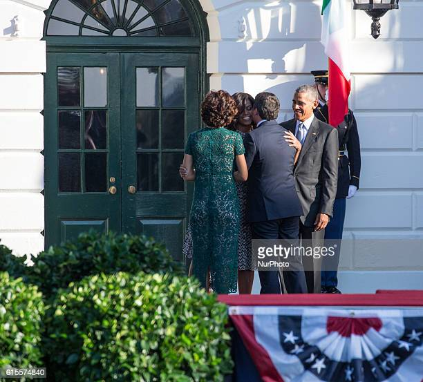 On the South Lawn of the White House in Washington, D.C., U.S., on Tuesday, Oct. 18, 2016., First Lady Michelle Obama, and President Barack Obama,...