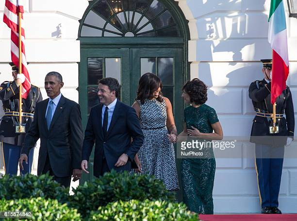 On the South Lawn of the White House in Washington, D.C., U.S., on Tuesday, Oct. 18, 2016., , President Barack Obama, Prime Minister Matteo Renzi,...