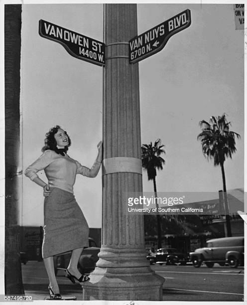 On the spot of California's new center of population Van Nuys Boulevard and Vanowen Street Van Nuys stands Deane Thasher Southerly shift reflects...