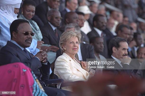 On the stands at the Dakar stadium Omar Bongo President of Gabon and Viviane Wade