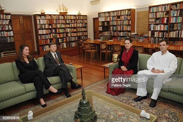On the start of his four day visit to India Bill Gates Chairman and Chief Software Architect of Microsoft Corporation and his wife Melinda visit the...