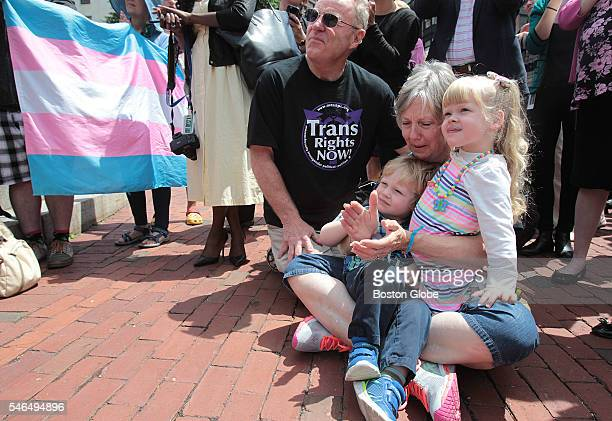 On the steps of the Massachusetts State House July 11 Leon and Dianne Monnin of Medford who have a son who is transgender shared an emotional moment...