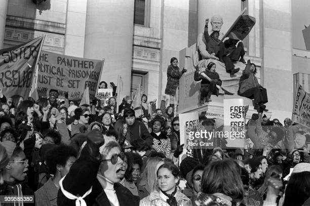 On the steps of the New Haven County Courthouse a large group of women protest during the 'Free Bobby Free Ericka' demonstration cosponsored by the...