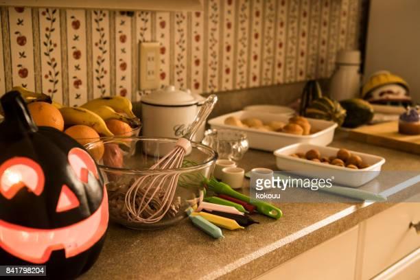 お菓子を作るのテーブル。