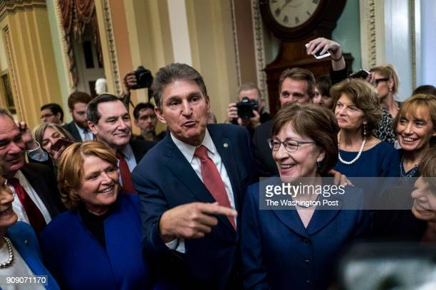 WASHINGTON DC On the third day of the government shutdown moderate Senators gather just off the Senate after passing a procedure vote that will lead...