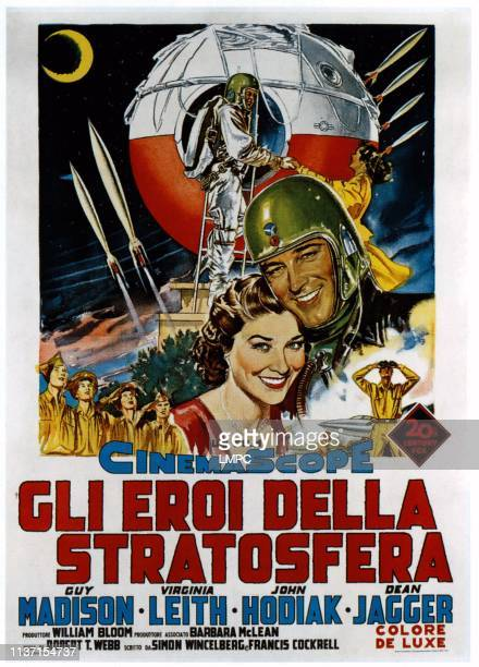 On The Threshold Of Space poster from left Virginia Leith Guy Madison Italian poster art 1956