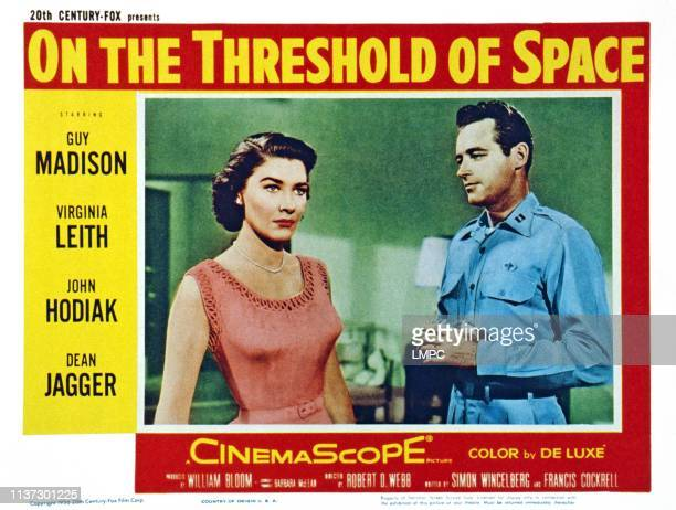 On The Threshold Of Space US lobbycard from left Virginia Leith Guy Madison 1956