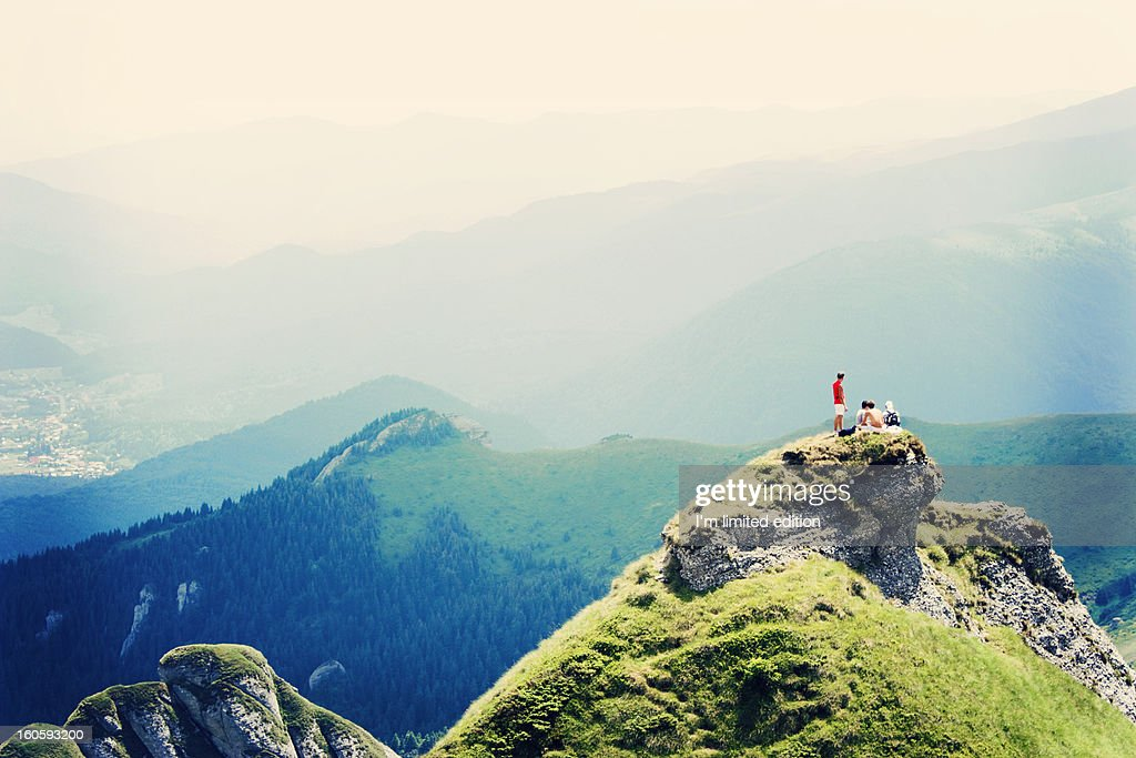 On the top of the mountain : Stock Photo
