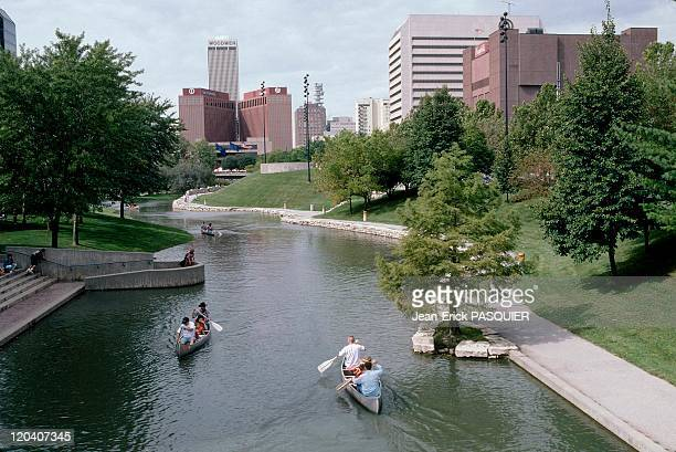 On the tracks of Lewis and Clark in Omaha United States in 1997 Downtown of Omaha City