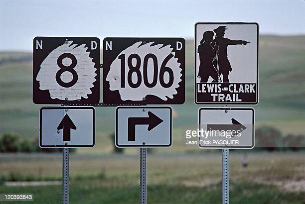 On the tracks of Lewis and Clark in United States in 1997 Lewis and Clark signs on the trail