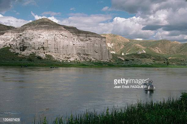 On the tracks of Lewis and Clark in United States in 1997 Missouri river White cliff in Montana