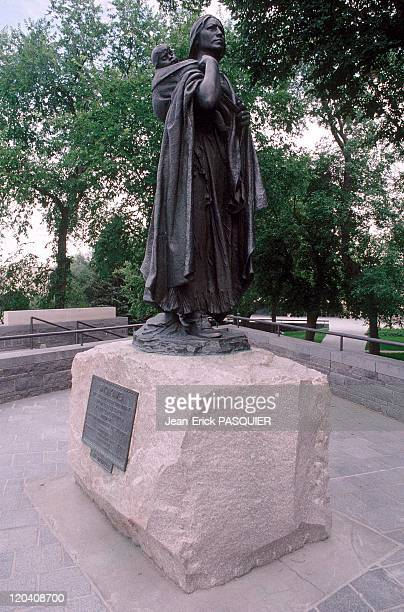 On the tracks of Lewis and Clark in United States in 1997 Sacajawea monument in Bismarck