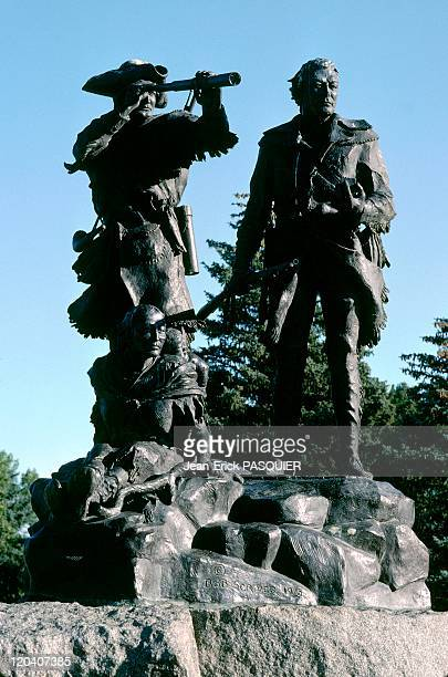 On the tracks of Lewis and Clark in United States in 1997 Statue of Lewis Clark Sacagawea and Pomp at Fort Benton in Montana